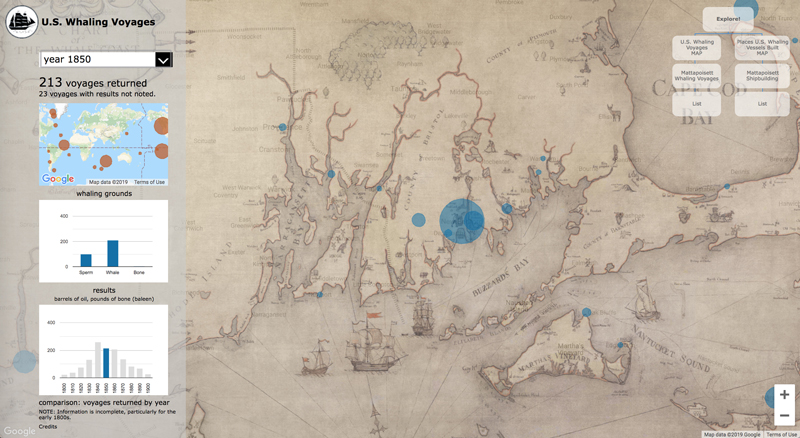 Mattapoisett whaling voyages map